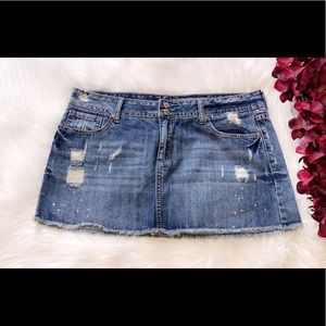AMETHYST JEANS Distressed Denim Mini Skirt